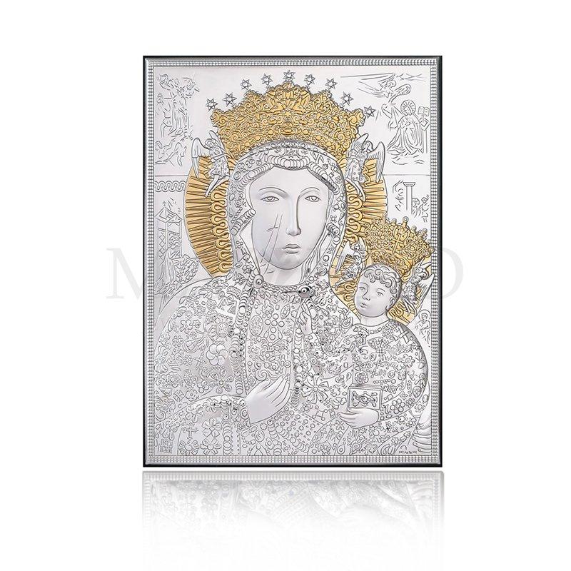 obrazek srebrny z Matką Boską Częstochowską