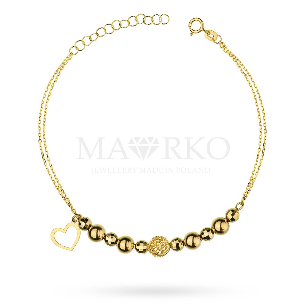 bransoletka z zawieszką w kształcie serca