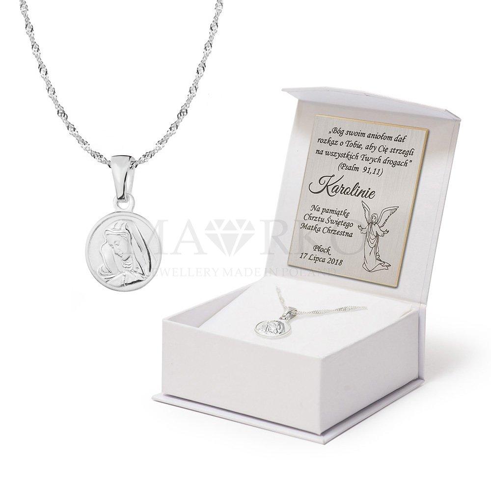 komplet medalik z łańcuszkiem - pomysł na pamiątkę z okazji chrztu dla dziewczynki